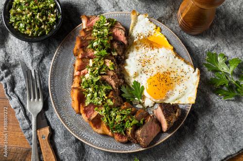 Canvas Print Homemade Steak and Eggs