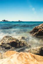 Sea Wave Crashes Against Rocks...