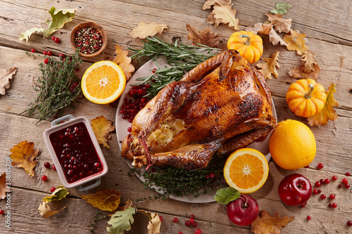 Fototapeta Roasted turkey dish for Thanksgiving dinner obraz