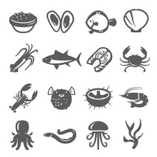 Seafood, Delicacy Bold Black S...