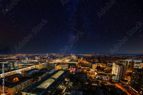 Obraz Night Voronezh skyline with starry sky and milky way, aerial view - fototapety do salonu