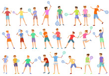 Kids Playing Tennis Icons Set....