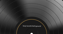 Vinyl Record Texture Background. Realistic Black Blank Backdrop. Dark Label. Highly Detailed. Vector Illustration.