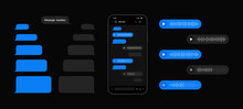 Messenger UI And UX Concept With Dark Interface. Smart Phone With Messenger Chat Screen And Voice Wave. Sms And Voice Template Bubbles For Compose Dialogues. Vector Illustration