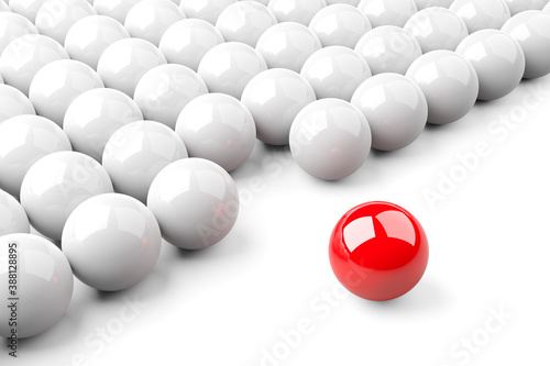 Single red ball standing out from the crowd of white shiny spheres, leadership, standing out or bravery concept over white background