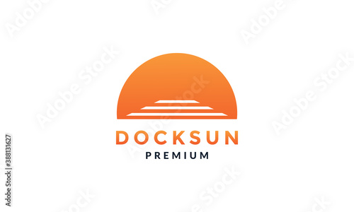 Fotografija docks with sunset modern logo vector icon illustration