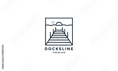 Slika na platnu docks with sunset line outline simple logo vector icon illustration