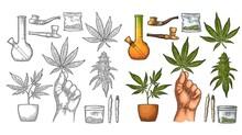 Set Marijuana. Cigarettes, Pipe, Lighter, Buds Cannabis. Vintage Engraving