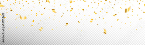 Fototapeta Gold confetti on transparent backdrop. Realistic falling tinsel. Luxury anniversary template. Flying decoration elements. Bright serpentine isolated. Vector illustration obraz