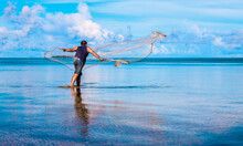 Fisherman Casting Net