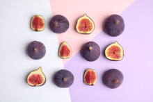 Delicious Ripe Figs On Color B...