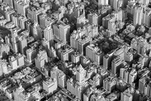 USA, New York, New York City, Upper East Side Buildings, High Angle View, Bw