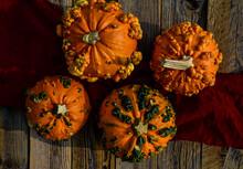 Above View Of Orange Pumpkins ...
