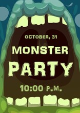 Monster Party Vector Poster Of Halloween Horror Holiday. Open Mouth With Teeth Of Spooky Zombie, Green Ogre, Bigfoot Or Troll, Screaming Alien Creature Frame Border Of Trick Or Treat Party Invitation