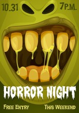 Halloween Zombie Monster Vector Poster Of Horror Night Party. Spooky Green Ogre, Troll Or Ghoul Creepy Smile With Dirty Teeth, Slime And Saliva Drops, Tongue And Flies, Trick Or Treat Party Invitation
