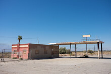 An Abandoned Gas Station In The Desert