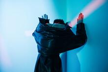 Cyberpunk Woman Standing Under...