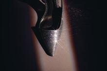 Shiny Shoe In Stripe Of Light