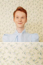 Positive Ginger Androgynous Model In Blue Blouse
