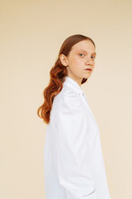 Young Ginger Model In White Shirt