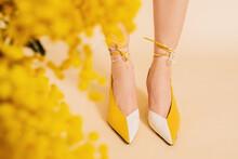 Crop Woman In Trendy Shoes Near Flowers