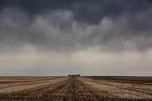 Grain Bins In A Farmer's Field.