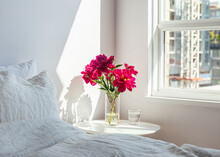 Bouquet Of Red Peonies On Beds...