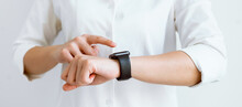 Hand Touching Screen On Smartwatch To Unlock, Concept Digital Security And Private Data Access In Technology.