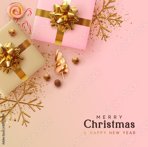 Obraz Merry Christmas and Happy New Year. Background Xmas design realistic gifts box, festive decorative objects. flat lay top view. Christmas poster, holiday banner, flyer, stylish brochure, greeting card - fototapety do salonu