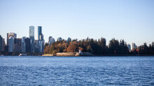A View Of Brockton Point, Park Of The Stanley Park Seawall, With A View Of Downtown Vancouver, British-Columbia