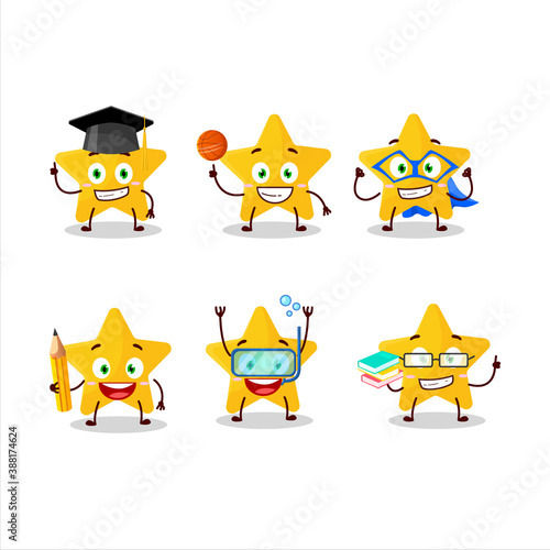 Photo School student of yellow star cartoon character with various expressions