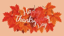 Happy Thanksgiving Day Animation Lettering With Leafs