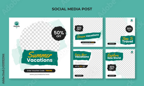 Obraz na plátně Summer vacation square banner for social media post template