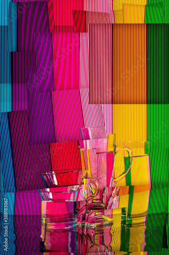 Abstract still life with a glasses of water on a color bright background Canvas