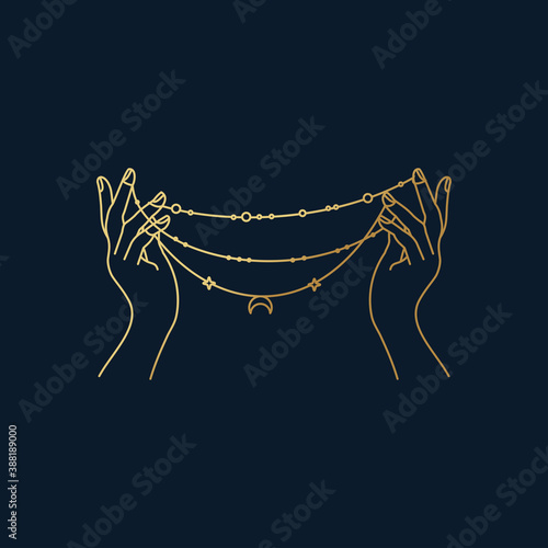 Fotografija Beautiful hands holding a necklace vector line icon