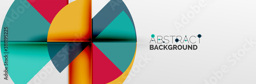 Bright color circles, abstract round shapes and triangles composition with shadow effects Fotobehang