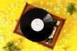 Leinwandbild Motiv Record player and Christmas decor on color background
