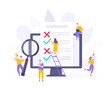 Online survey form or exam application on the monitor screen, claim form, clipboard and tiny people working together. Internet questionnaire, online education quiz vector illustration concept metaphor