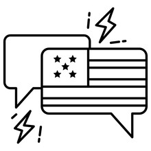 Chat Bubble With Thunder Bolt Sign Vector Icon Design, Presidential Elections In United States Symbol On White Background, Debate Of President Voting Concept,