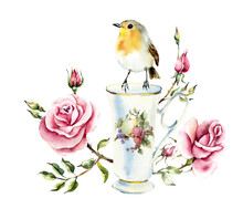 Tea Time. A Cup Of Tea With Roses And Robin. Watercolor Hand Drawn Illustration.