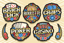 Vector Set Of Gambling Logos, 7 Isolated Badges With Illustration Of Gamble Symbols, Collection Of Decorative Sign Boards With Retro Design Flourishes And Unique Brush Typeface For Gambling Words.
