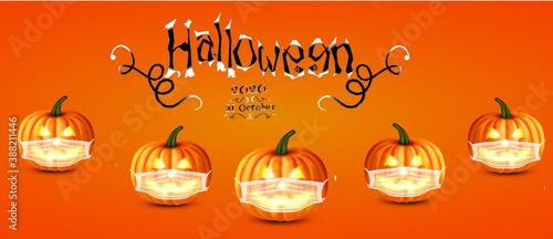 Obraz na plátně 3d, halloween ,pumkin ,octobar 31 ,covid 19 ,covid19,mask , social distance,coro