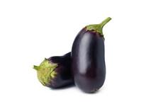 Fresh Raw Eggplants Isolated On White Background