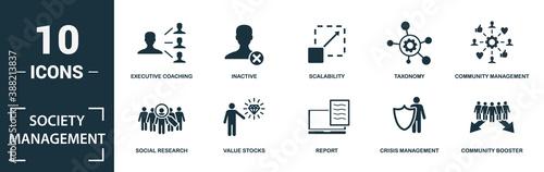 Photo Society Management icon set