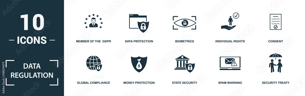 Fototapeta Data Regulation icon set. Monochrome sign collection with social network, message protection, privacy, server protection and over icons. Data Regulation elements set.
