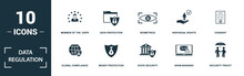 Data Regulation Icon Set. Mono...