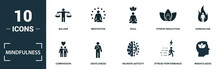 Mindfulness Icon Set. Monochrome Sign Collection With Balans, Meditation, Soul, Stress Reduction And Over Icons. Mindfulness Elements Set.