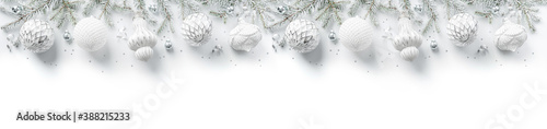 Fotografie, Tablou Merry Christmas wreath made of fir branches, white and silver decorations, sparkles and confetti on white background