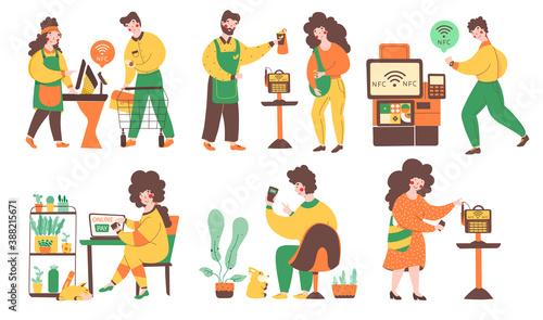 Fototapeta Nfc contactless online payment, illustration set in modern style. obraz na płótnie