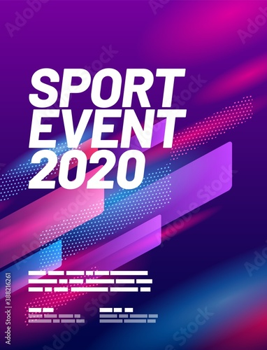 Fotografie, Obraz Poster design with abstract dynamic shapes for sports event, competition or championship